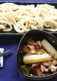 豚肉とネギと舞茸の冷やしうどん、つけ麺