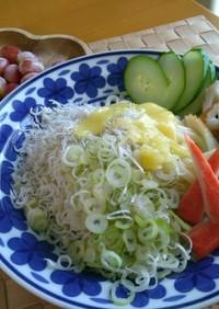 葱しらすチーズ胡瓜ぶっかけうどん