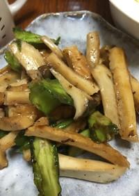 四角豆と竹輪とエリンギの炒め物