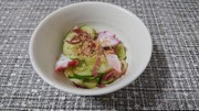 お酢が効いた胡瓜、茗荷、蛸の酢の物の写真