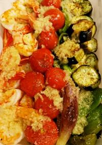 海老と夏野菜の焼き煮浸し