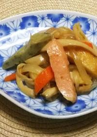 てんぷらと野菜のピリ辛炒め