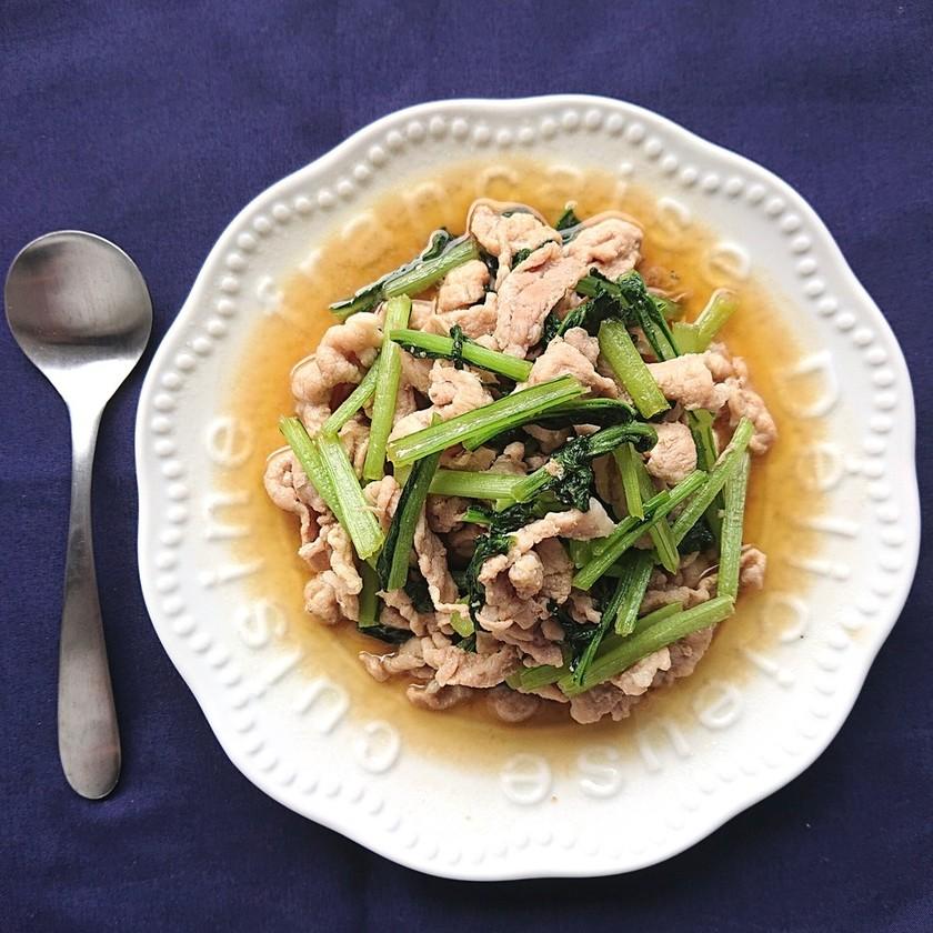 豚こま肉と小松菜のごま油香るめんつゆ炒め