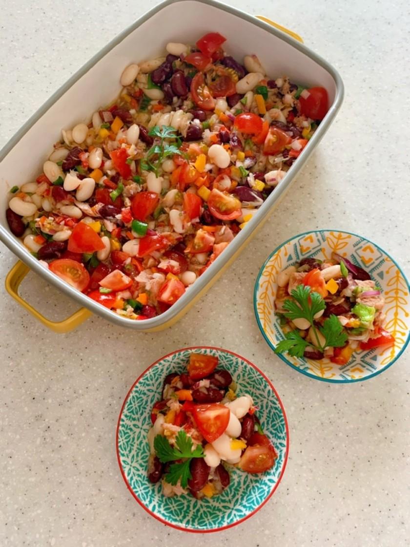 トマトビネガーでお豆のサラダ