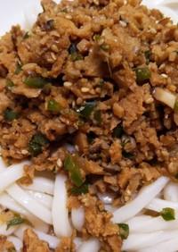 高野豆腐で肉味噌うどん