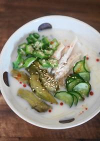 塩麴茹で鶏の豆乳麺