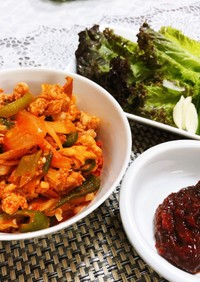 韓国風豚コマと野菜のピリ辛炒め