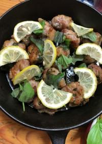 レモン塩ダレの豚バラバジル団子