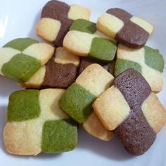チョコと抹茶のアイスボックスクッキー