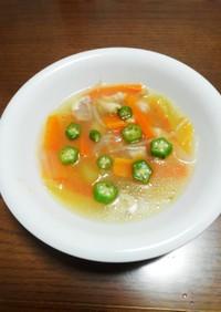スイカの皮とオクラの中華スープ