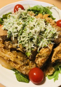 鶏肉のケチャップステーキ&チキンライス