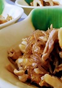 豚肉と糸こんにゃくとちくわの炒め煮