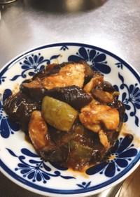 鶏胸肉とナスとピーマンのピリ辛味噌炒め