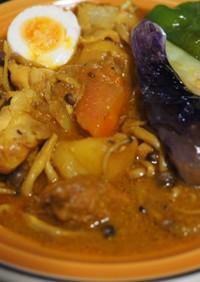 staub鍋で塩麹チキン無水カレー