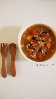 豆と穀物のトマトスープの写真