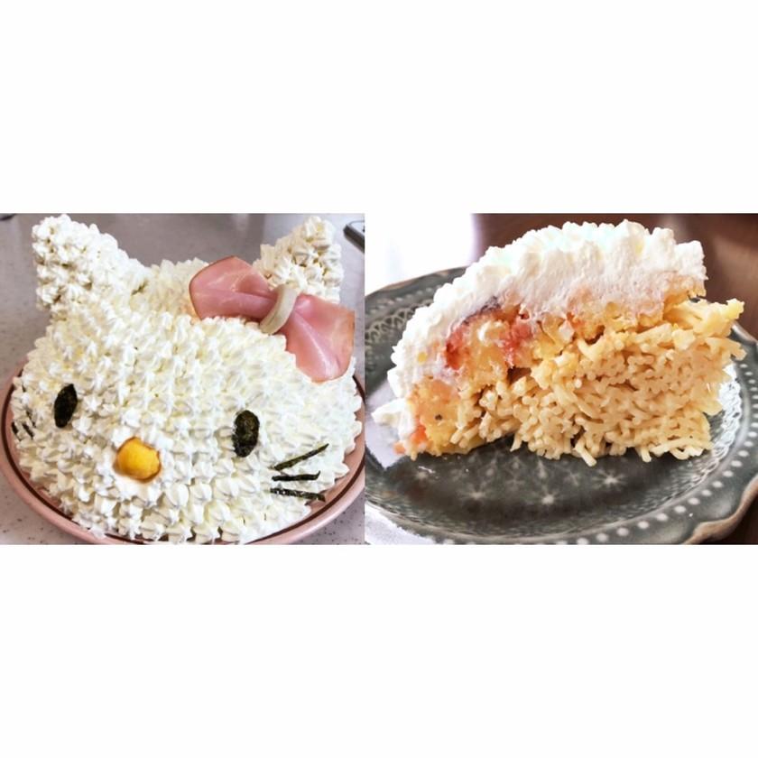 パスタとポテサラの立体ケーキ