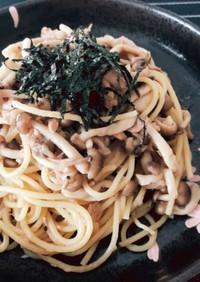 簡単☆ツナしめじ☆和風麺つゆパスタ