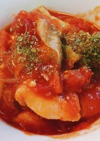 サラダチキンでずぼらトマトチキン煮込み