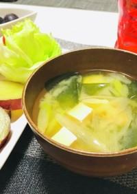 シンプルねぎとワカメと豆腐のお味噌汁