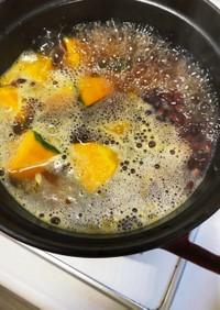 夏バテ回復 南瓜と茹で小豆の味噌煮