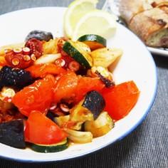 タコと夏野菜のドライトマト炒め