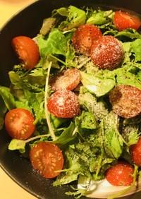 ベビーリーフ&プチトマトのおから粉サラダ