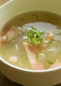 おろし冬瓜とベーコンのスープ