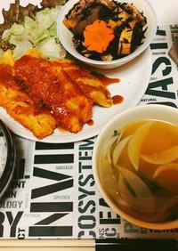大根とひじきの煮物・鱈フライ定食/記録用