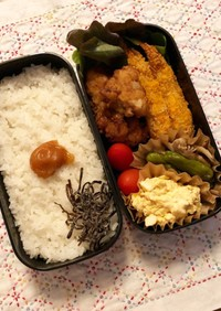 高カロリー弁当☆唐揚げ&エビフライ