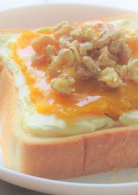 かぼちゃペーストとクリームチーズトースト