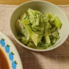 塩キャベツとスライスきゅうりのサラダ