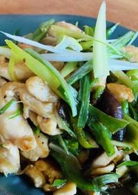 鶏胸肉・ししとう・椎茸の炒め物