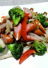 ウインナーと野菜のりんごケチャップ炒め