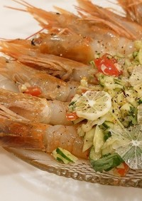 赤海老/水菜/トマト/レモン/キュウリ