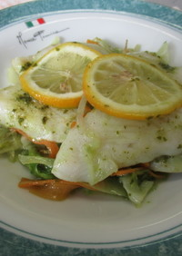 カット野菜で♬白身魚のバジルソース☆