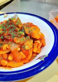 柔らか鶏胸肉の大豆トマト煮(ダイエット)