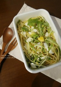 水菜と卵の和風パスタサラダ☆
