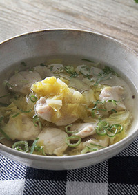 白菜とササミのショウガスープ