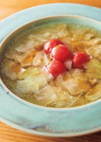 ごま油香るキャベツとトマトのスープ