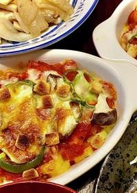 マカロニのトマトチーズ焼きピザ風味