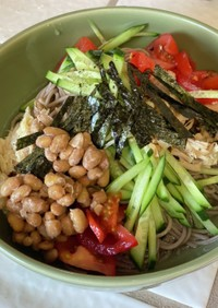 お昼ご飯に野菜ぶっかけ冷やし蕎麦