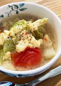 トマトとレタスのとき玉中華風スープ