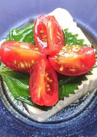 豆腐に青じそとプチトマトのせ(ダイエット