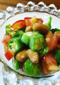 オクラとトマトの納豆和え