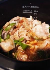 ホットクックで豚バラピーマンシメジ炒め物