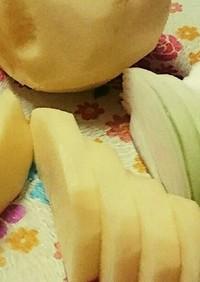 玉葱*じゃが芋の薄切りはパッタンと倒して