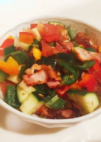 夏野菜とカリカリベーコンのマリネ