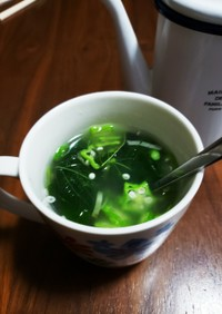 冷凍モロヘイヤと生オクラのスープ
