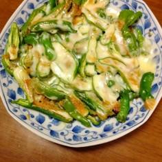 シシトウの味噌マヨチーズ