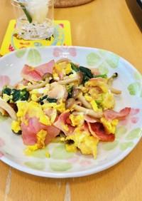 簡単♪ベーコンほうれん草と卵炒め②お弁当